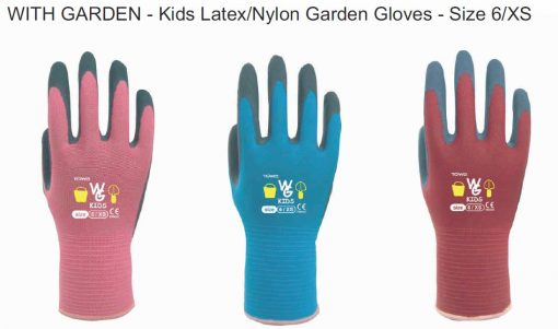 With Garden Kids Gardening Gloves Size 6, Ages 5-7