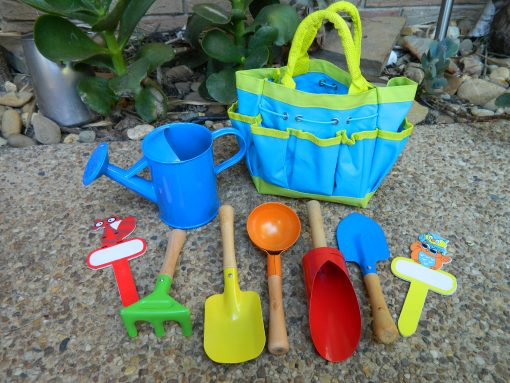 8 Piece Children's Gardening Tool Kit Bag